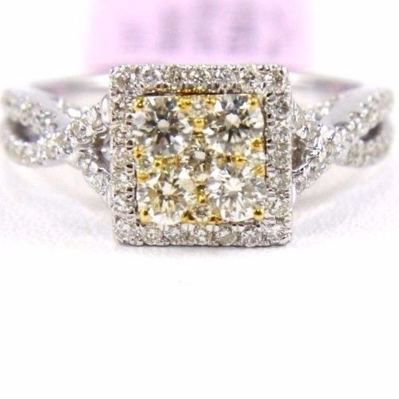 93484139e1a9f Yellow Diamond Square Infinity Ring 14k WG 1.11Ct Boutique
